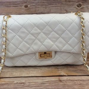 Italian Quilted White Leather Handbag
